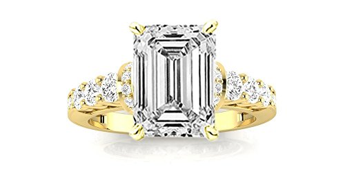 0.51 Ct Emerald Cut Diamond (14K Yellow Gold 1.36 CTW Designer Four Prong Pave Set Round Diamonds Engagement Ring w/ 0.51 Ct GIA Certified Emerald Cut F Color VVS2 Clarity Center)