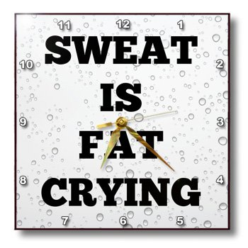 """3dRose dpp_200701_3 Sweat is Fat Crying Black Letters on Pics of Drops of Sweat Wall Clock, 15 by 15"""""""