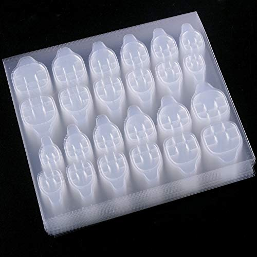 SIUSIO 50 Sheets Nail stickers Nail Adhesive tabs False Nail Tips Nail Art Transparent Double Sided Adhesive