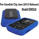 Silicone Skin Case Cover For SanDisk Clip Jam MP3 Player 2015 Release (Model SDMX26), Blue