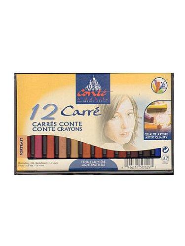 Conté à Paris Colored Crayons Set with 12 Assorted Portrait Colors
