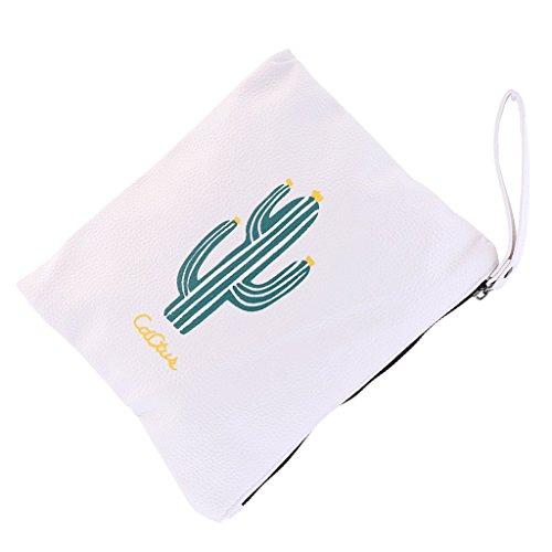 Bag as PU Wallet Baoblaze described Zip Cosmetic Coin White Clutch Purse Ladies Leather White Makeup Handbag 7pwxqFXg