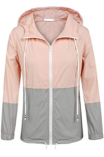 Pink Cremallera Jacket Windbreaker Women 's Waterproof Color Block Hoodie Ctnq8Bw