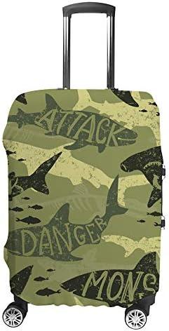 スーツケースカバー 迷彩柄 シャーク柄 伸縮素材 キャリーバッグ お荷物カバ 保護 傷や汚れから守る ジッパー 水洗える 旅行 出張 S/M/L/XLサイズ
