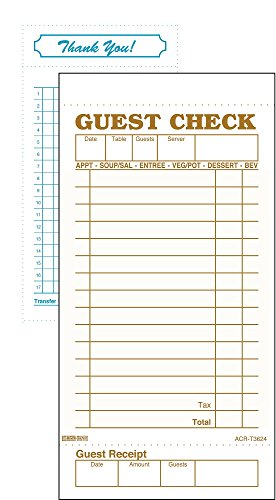 DayMark ACR-T3624 Guest Check Bond, 1 Part, Tan, 6-3/4'' Length x 3-13/32'' Width (Case of 50 Packs, 100 Sheets per Pad) by DayMark Safety Systems