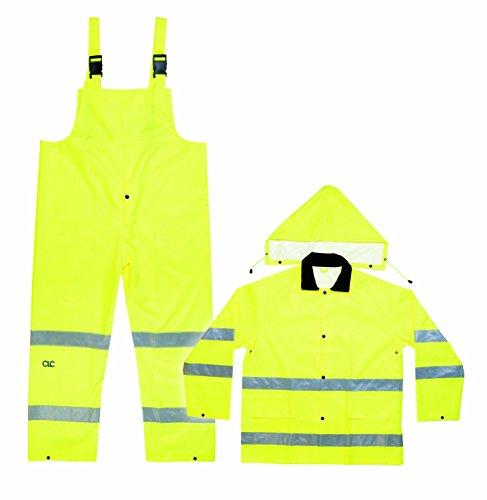 CLC Custom Leathercraft R111L 2-Piece ANSI 3 Polyester Medium Weight Rain Suit with Detachable Hood, Large
