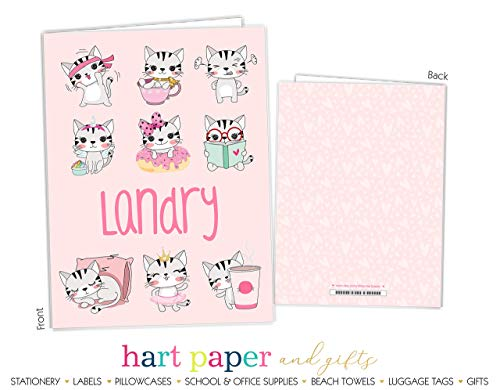 Cat Kitten Pink Hearts 2 Pocket Folder Gift Name Back to School Supplies Teacher Office Birthday Girl Kids Custom Personalized Custom by Hart Paper