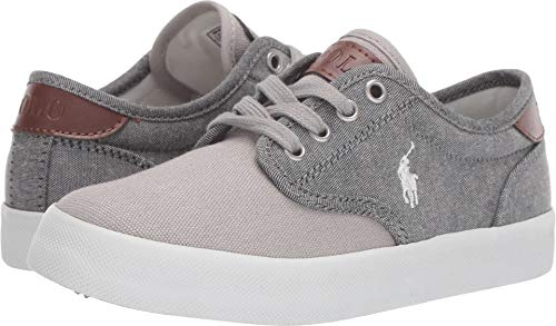 (Polo Ralph Lauren Kids Boy's Luwes (Little Kid) Grey Chambray/Canvas/White Pony 12 M US Little Kid)
