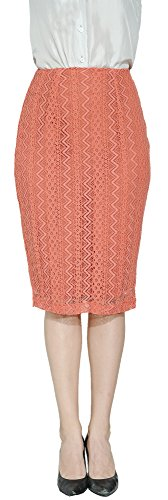 Marycrafts Women's Lace Lined Pencil Knee Length Midi Skirt M Peach Wave