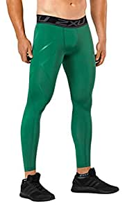 2XU Men's LKRM Compression Tights, Bottle Green, XX-Small