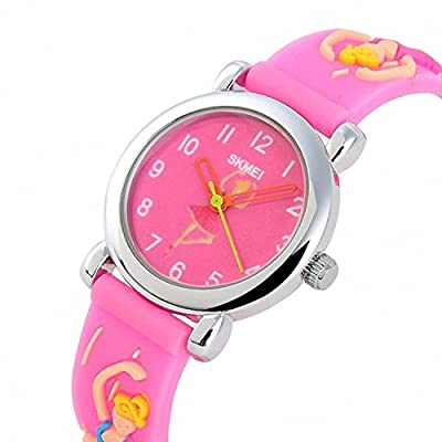 Kids Outdoor Sports Quartz Analog Waterproof Children Wrist Dress Watch with Unusual 3D Dancing Ballet Silicone Band for Girls - Pink