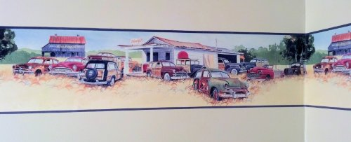 Old Cars Wallpaper Border - Woody Junkyard, Chevy, Fords, Packard, (Diner Old Cars)