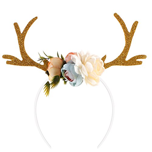 Tinksky Funny Deer Antler Headband with Flowers Blossom Novelty Party Hair Band Head Band Christmas Fancy Dress Costumes Accessory Christmas Birthday Gift for women girls (Khaki)