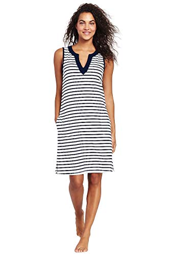 (Lands' End Women's Cotton Jersey Sleeveless Tunic Dress Swim Cover-up Print, S, White/Deep Sea Stripe)