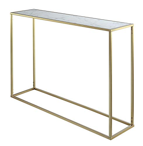 Convenience Concepts Gold Coast Faux Marble Console Table (Tv Stand Gold)