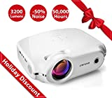 Crenova XPE498 Upgraded Projector 2018 (White) – 3200 Lumens – Home Portable Projector – Compatible with PC/Mac/TV/DVD/iPhone/iPad/USB/SD/AV/HDMI for Home Theater/Outdoor/Video Games