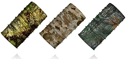 Geaux Sports Premium Camo UV Neck Gaiter, 3 Pieces, Use for Outdoor Sporting, Hunting Fishing Climbing Cycling Etc. Moisture Wicking Multi-functional Bandana, Headband, Clothing Accessories (By