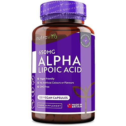 🥇 �cido alfa lipoico 650 mg – 120 cápsulas de alta potencia para veganos – 100% naturales