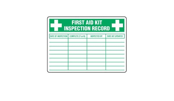Emedco FAKIL First Aid Kit Inspection Label