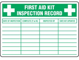 First Aid Kit Inspection Sticker