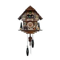 Quartz Cuckoo Clock Black forest house, turning mill-wheel