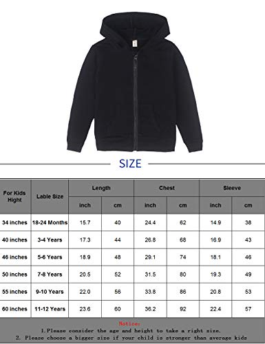 Spring&Gege Youth Solid Full Zipper Hoodies Soft Kids Hooded Sweatshirt for Boys and Girls Size 11-12 Years Black by Spring&Gege (Image #2)