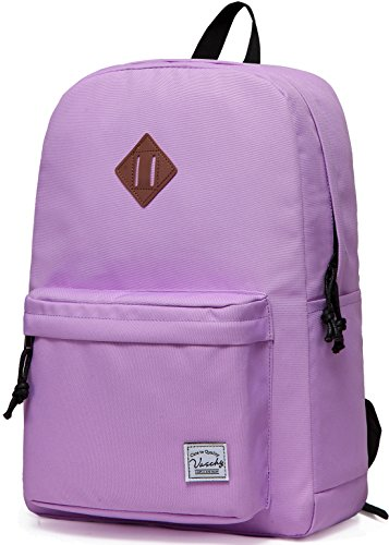Lightweight Backpack for School, VASCHY Classic Basic Water Resistant Casual Daypack for Travel with Bottle Side Pockets (Orchid)