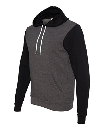 Bella 3719 Unisex Poly-Cotton Fleece Pullover Hoodie - Dark Grey Heather & Black, Extra Small (Bella Hooded Pullover)