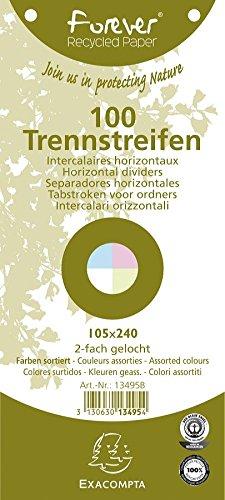 Exacompta 13495B Divisori e Segnaletica, 105x240 mm, Colori Assortiti, Confezione da 100