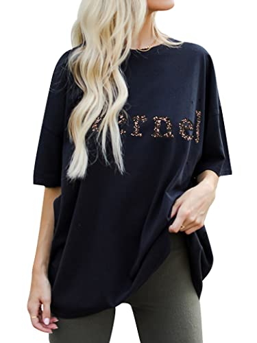 PLNCAYFZ Women Letter Solid Color Printed Short Sleeve Round Neckline Loose T-Shirt Top Navy