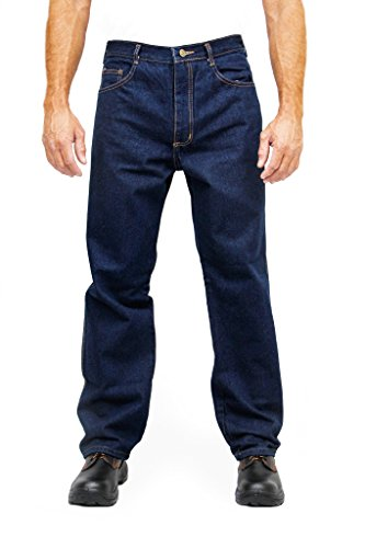Kolossus Men's Relaxed Straight Denim Five Pocket strong working Jean Triple seams KJ01F (34 x 32)