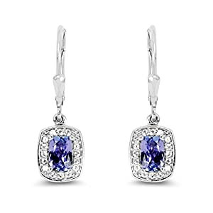 Johareez 1.35 cts Tanzanite & White Topaz .925 Sterling Silver Rhodium Plated Earrings for Women
