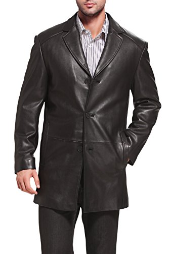 (BGSD Men's Carter Three-Button New Zealand Lambskin Car Coat - Tall XLT Black)
