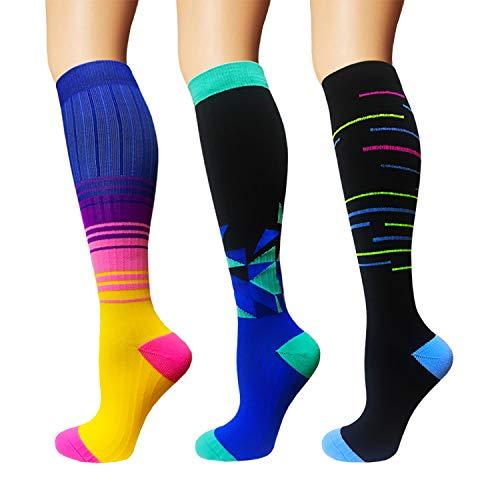- 3/5 Pairs Compression Socks Women & Men - Best Medical,Nursing,Hiking,Travel & Flight Socks-Running & Fitness