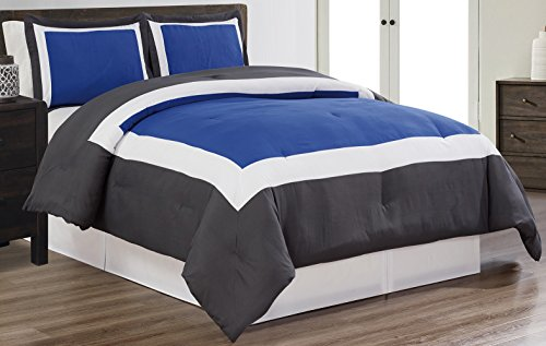 3 piece ROYAL BLUE / WHITE / GREY Goose Down Alternative Color Block Comforter set, QUEEN size Microfiber bedding, Includes 1 Comforter and 2 Shams (White Blue Bedding)