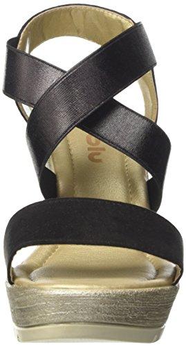 Inblu CH000022, Sandalias de Cuña Mujer Negro