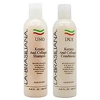 LA-BRASILIANA UNO Keratin After Treatment Shampoo 8oz + DUE Conditioner 8oz Combo...