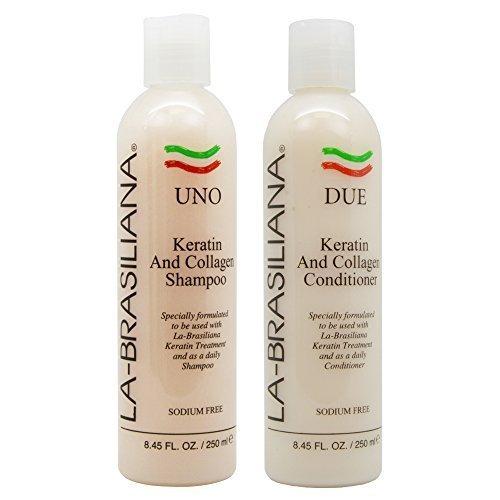 LA-BRASILIANA UNO Keratin After Treatment Shampoo 8oz + DUE Conditioner 8oz Combo Set