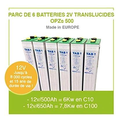 6 baterías para kit solar de 2 V translúcidas OPZS 500 para instalación autónoma solar y energía eólica, batería de alta gama fabricada en Europa.