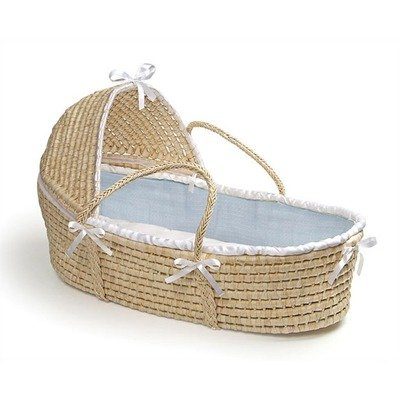 Hooded Moses Basket with Blue Waffle Bedding