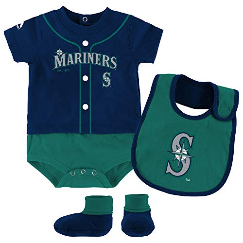 Outerstuff MLB Newborn Infants Tiny Player Creeper, Bib, and Bootie Set (3/6 Months, Seattle Mariners)
