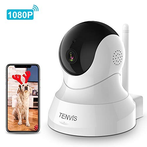 Dog Camera - TENVIS 1080P Indoor Security Camera, Dog Camera with Phone App Speaker, Pet Monitor Camera Baby Camera with Monitor, 2-Way Audio (1080p-White) by TENVIS