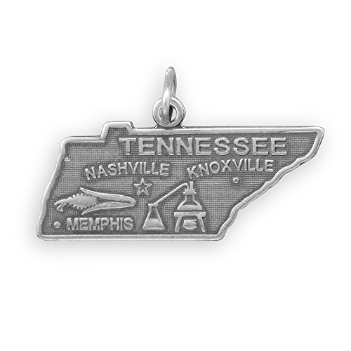 Sterling Silver Tennessee State Charm - Tennessee State Charm Antiqued Sterling Silver