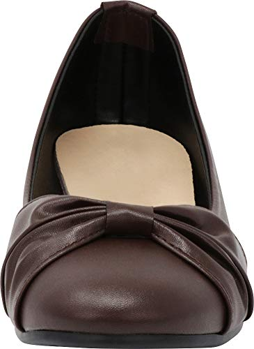 Slip Knot Comfort Closed Flat Cambridge Women's Bow Ballet Chocolate Pu Select Round Toe On wz0xBxqY4