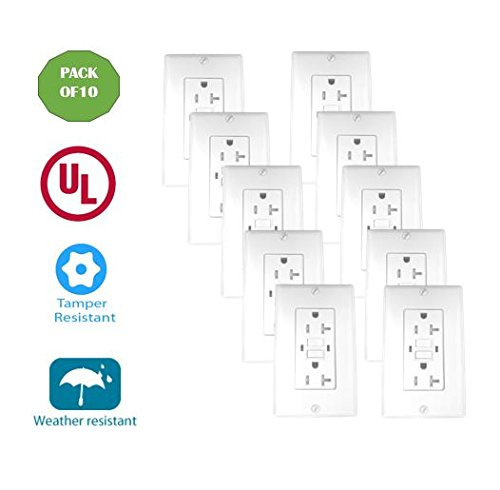 20 Amp Tamper Weather Resistant WTR GFCI LED outlet w/Wallplate UL2015 (Pack of 10) ()