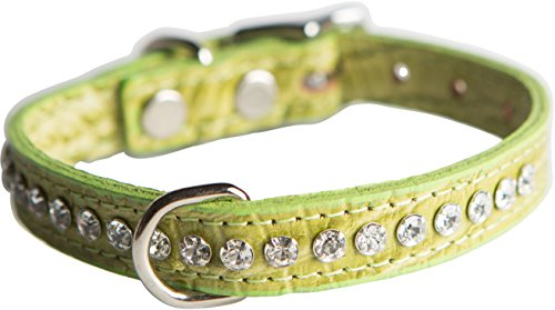 OmniPet Signature Leather Crystal and Dog Collar, Faux Crocodile Print, 10