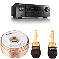 Denon AVRS540BT 5.2 Channel Arc and HDMI Receiver - Black with 16-Gauge Speaker Wire - 100 Feet and Banana Plugs - 6 pairs from Denon