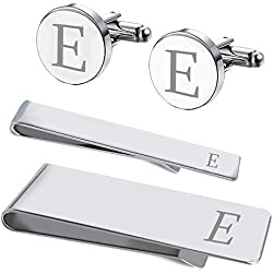 BodyJ4You 4PC Cufflinks Tie Bar Money Clip Button Shirt Personalized Initials Letter E Gift Set