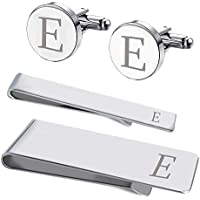 BodyJ4You 4PC Cufflinks Tie Bar Money Clip Button Shirt Personalized Initials Alphabet A-Z Gift Set