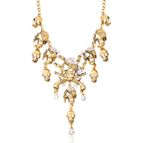 [Jane Stone Fashion Crystal Skull Collar Necklace Punk Gothic Jewelry for Women(Fn2146-Gold)] (Gold Halloween Costume)